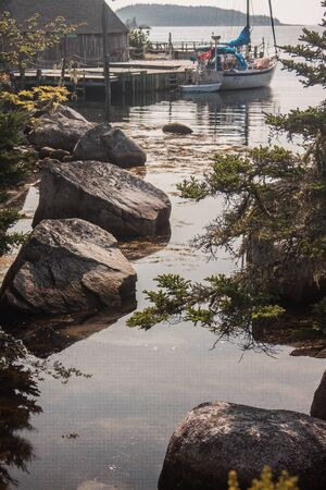 nova scotia: sail boat at the Nova Scotia Coast Stock Photo