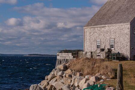 nova scotia: colourful fishing shacks at the Nova Scotia coast Stock Photo