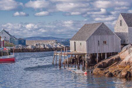 nova scotia: fishing harbour at the Nova Scotia coast near Peggys Cove