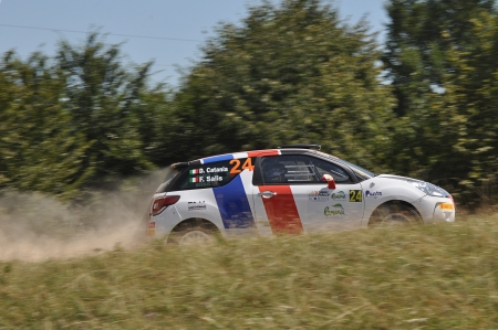 irc: SIBIU, ROMANIA - JULY 20 2012: Catania DavideSalis Fabio in a Citroen DS3 R3 at IRC Sibiu Rally 2012