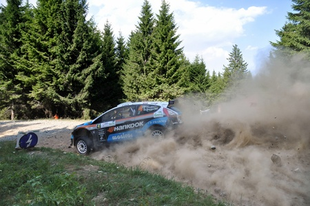 irc: SIBIU, ROMANIA - JULY 20 2012: Flodin PatrickBergsten Goran driving a Ford Fiesta S2000 at IRC Sibiu Rally 2012 Editorial