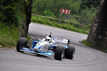 hillclimb: TELIU, ROMANIA - APRIL 8 2011: Lucien Hora and his Lola F3000 at Trophy Teliu 2011