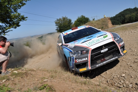 irc: SIBIU, ROMANIA - JULY 20 2012: Porcisteanu ValentinDobre Dan - Mitsubishi Lancer Evo10 - IRC Rally Sibiu 2012