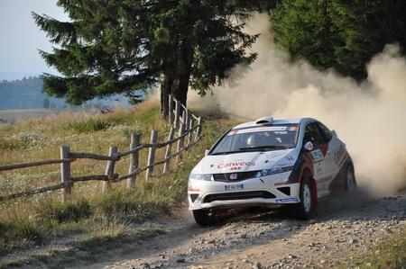 irc: SIBIU, ROMANIA - JULY 20 2012: Kangur MartinOst Andres - Honda Civic Type R - IRC Rally Sibiu 2012