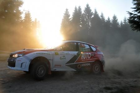 irc: SIBIU, ROMANIA - JULY 20 2012:  Badina EugenBadina Aurelian - Subaru Impreza N15 - IRC Rally Sibiu 2012