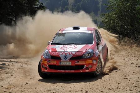 irc: SIBIU, ROMANIA - JULY 20 2012: Kogler MichaelHeigl Juergen - Renault Clio R3 - IRC Rally Sibiu 2012