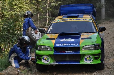irc: SIBIU, ROMANIA - JULY 20 2012: Crisan FlorinOnofrei Mircea - Subaru Impreza - IRC Rally Sibiu 2012