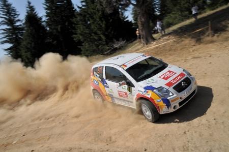 irc: SIBIU, ROMANIA - JULY 20 2012: Dragan AdrianBradateanu Valentin - Citroen C2R2 Max - IRC Rally Sibiu 2012