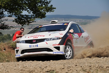 irc: SIBIU, ROMANIA - JULY 20 2012: Kangur MartinOst Andres - Honda Civic Type R - IRC Rally Sibiu 2012