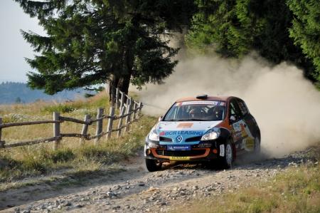 irc: SIBIU, ROMANIA - JULY 20 2012: Filip AlexandruIancu Bogdan - Renault Clio R3 Maxi EVO - IRC Rally Sibiu 2012 Editorial