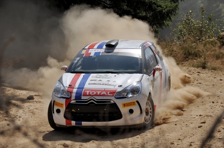 irc: SIBIU, ROMANIA - JULY 20 2012: Davide CataniaFabio Salis - Citoren DS 3 - IRC Sibiu Rally 2012