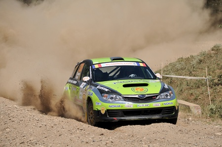 irc: Sibiu, Romania - July 20 2012: Simone TempestiniLucco Baggio with their Subaru  at the IRC Sibiu Rally in 2012