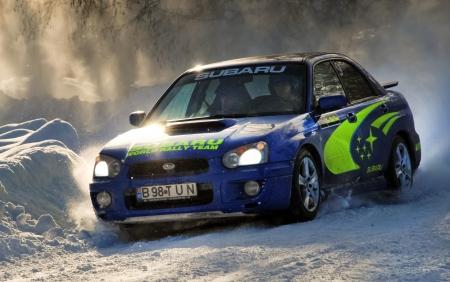 subaru: COMANDAU, ROMANIA - JANUARY 23 2010: Soos JanosSoos Istvan - Subaru Impreza - Winter Rally Comandau 2010 Editorial