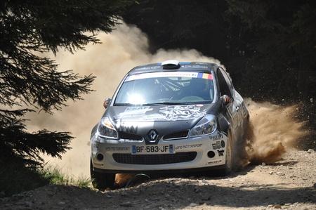 irc: SIBIU, ROMANIA - JULY 20 2012: Consani RobertBeynet Cedric - Renault Clio R3 - IRC Rally Sibiu 2012 Editorial