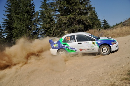 irc: SIBIU, ROMANIA - JULY 20 2012: Savu HoratiuMarginean Radu - Mitsubishi Lancer Evo 9 - IRC Rally Sibiu 2012 Editorial