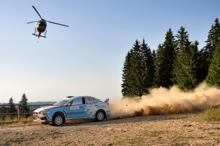 irc: SIBIU, ROMANIA - JULY 20 2012: Keleti EdwinCsomortani Botond - Mitsubishi Lancer Evo 10 - IRC Rally Sibiu 2012 Editorial