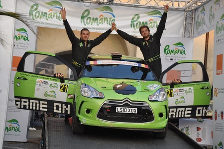 irc: SIBIU, ROMANIA - JULY 20 2012: Harry Hunt and Durant Robbie with a Citroen DS3 at IRC Sibiu rally 2012