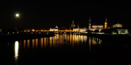 Classic night view of historic Dresden city center.