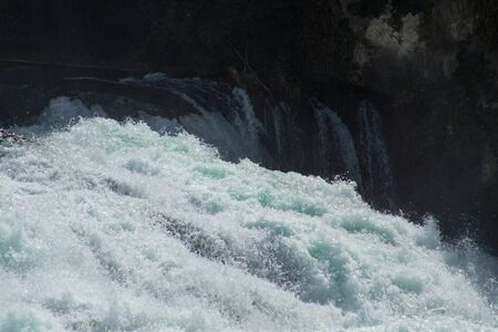 The roaring waters of the Rhine Falls near Schaffhausen going over the edge.