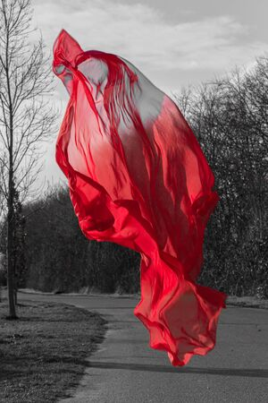 A red cloth hovers over a small country road.