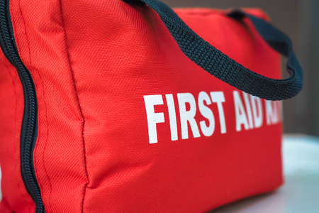 emergency kit: First Aid Kit Stock Photo
