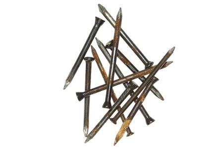 Rusty nails isolated Stock Photo