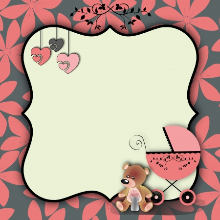 Baby carriage with a teddy bear, a bottle and hearts on a floral pattern background pink  photo