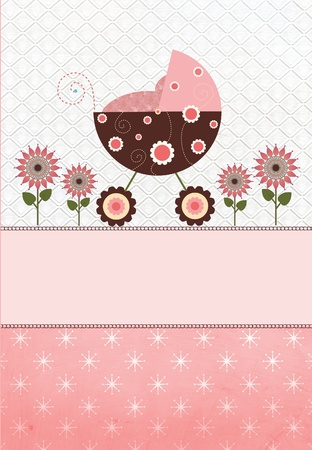 Baby carriage with flowers on a star pattern background pink  photo