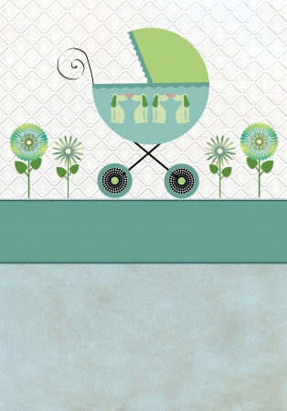 Baby carriage with flowers on a blue pattern background green blue  photo