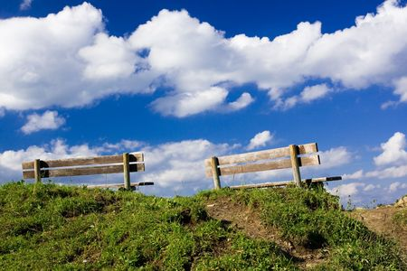 Two benches on top of a hill Stock Photo - 3851655