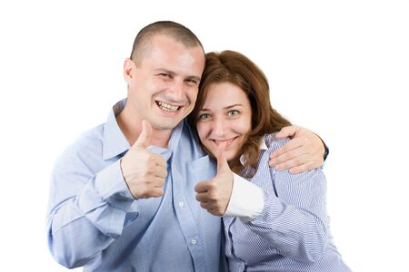 young couple showing ok sign, isolated on white Stock Photo - 4167047