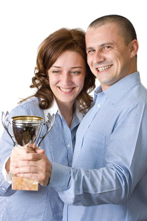 Successful businessteam holding a trophy Stock Photo - 4167167