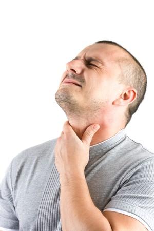 swallow: zieke jongeman geïsoleerd op wit Stockfoto