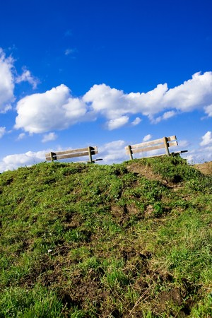 Two benches on top of a hill Stock Photo - 4241374