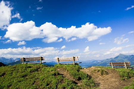 three benches on top of a hill Stock Photo - 4182099