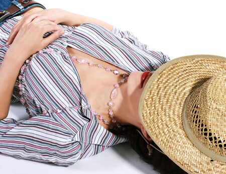 fatal: Fatal glamour cowboy woman sleeping, isolated on white