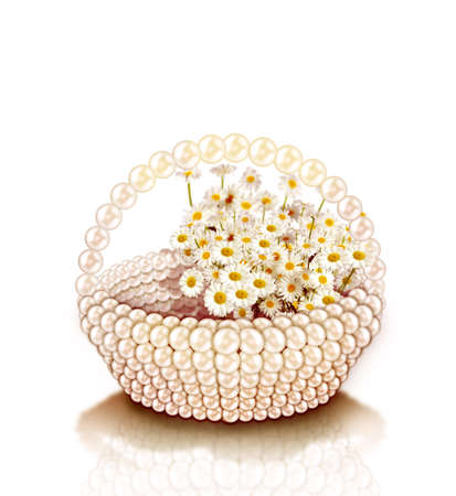 bouquet of wild flowers in pearl basket isolated on white photo