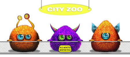 Cartoon funny monsters trapped behind Zoo fence photo