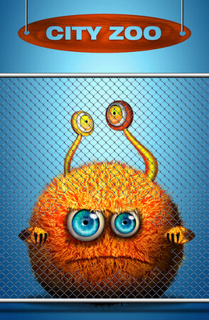 aching: Cartoon monster behind Zoo fence