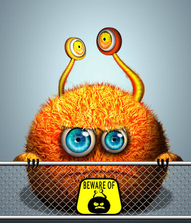 freak: Cartoon monster in city zoo, looking over the fence Stock Photo