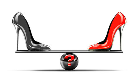 stiletto: Conceptual image of balance between two shoes