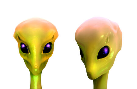 Sci fi illustration of Alien, isolated on white background
