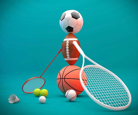 soccerball: Assorted sports equipment including a basketball, soccer ball, tennis ball, baseball, tennis racket, football, birdie, badminton racket forming a person. Stock Photo