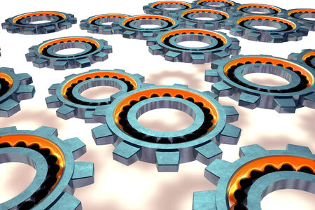 friction: Steel ball bearing. 3d illustration