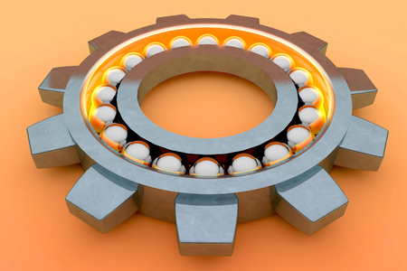 bearing: Steel ball bearing. 3d illustration