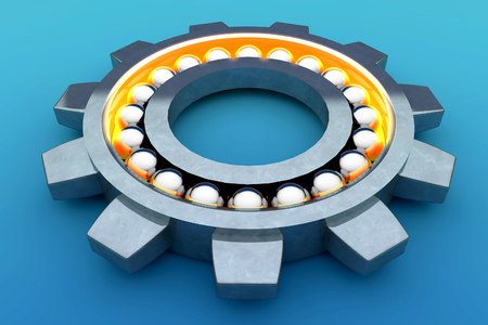 rotating parts: Steel ball bearing. 3d illustration