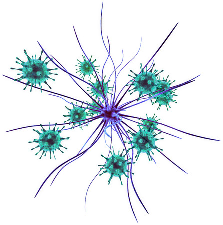 3d rendering of nerve Cell attacked by viruses, microscopic view, isolated on white background