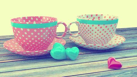 Retro vintage cups. photo