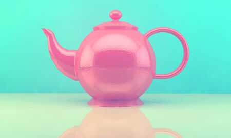 Sweet and colourful cupcakes and teapot on retro-vintage background photo