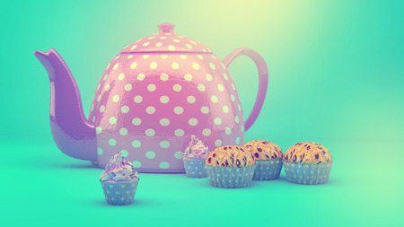 Sweet and colourful teapot and cupcakes on retro-vintage background photo